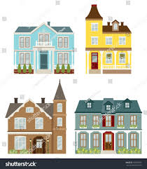 Victorian Style Houses Vector Illustration Victorian Style Houses Stock Vector 102055360