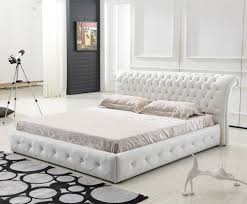 Sandy Beach White Bedroom Furniture High Headboard Beds Modern Upholstered Pu Leather Bed With High