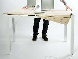 sleek desk sleek tambour table promises to keep clutter away from your desk