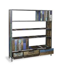 Reclaimed Boat Wood Furniture Calabar Urban Colours Reclaimed Wood U0026 Cast Iron Large Open Bookcase
