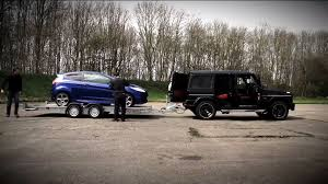 mercedes towing g63 amg accelerates while towing a st autoevolution
