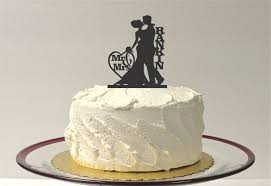 made in usa mr and mrs silhouette cake topper monogram