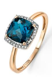 gold topaz rings images 9ct yellow gold london blue topaz checkerboard ring with diamond jpg