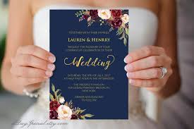 vistaprint wedding invitations navy wedding template burgundy boho chic floral printable gold