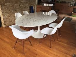 round or oval saarinen style faux marble dining tulip table