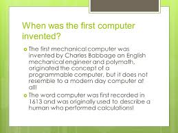 invention and idea when was the computer invented the