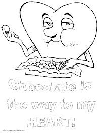 chocolate is the way to my heart coloring sheet