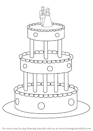 learn how to draw a wedding cake cakes step by step drawing