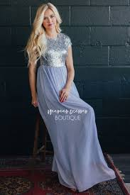 ice blue silver sequin maxi dress beautiful modest bridesmaids