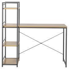 Natural Wood Computer Desk Desk With Built In 4 Shelf Bookcase Natural Wood Homestar Target