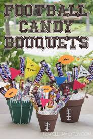 football chocolate candy bar bouquet football centerpieces