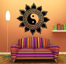 wall sticker home decal buddha yin yang floral yoga meditation