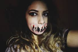 demon halloween makeup sfx torn mouth makeup mykie