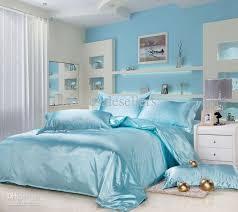 new silk queen bedding quilt duvet cover sets light blue bedroom