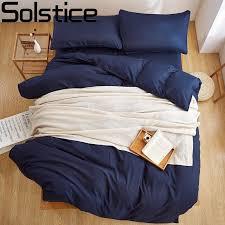 Navy Blue Bedding Set Solstice Textile New Product Solid Color 4 Pcs Bedding Set