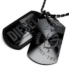 tag chain necklace images Salada bowl diesel diesel necklace black double plate mens dog jpg