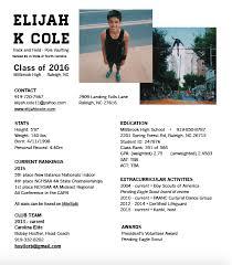 athletic resume athletic resume eli cole