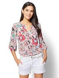 popover blouse ny c 7th avenue split neck popover blouse floral