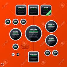 corporate business organization chart template on bright orange
