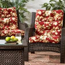 High Back Patio Chair Cushion All Weather High Back Chair Cushions Set Of 2 Free Shipping