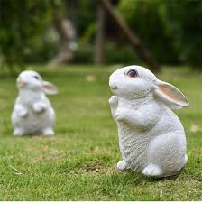 white handmade rabbit figurines resin garden