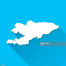 Kyrgyzstan Map Kyrgyzstan Map On Blue Background Long Shadow Flat Design Vector