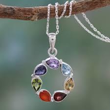 purple gemstone necklace images Multi gemstone necklace chakra jewelry from india peace within jpg