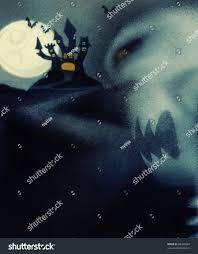 halloween theme haunted house evil skeleton stock illustration