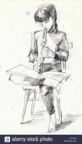 drawing hand and flute pencil sketch on paper sepia and vintage