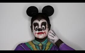 mouse makeup halloween mickey mouse joker mashup face painting tutorial youtube