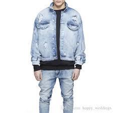 light distressed denim jacket mens oversized distressed denim jackets streetwear kanyye west light