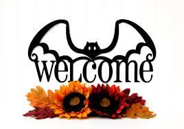 halloween bat welcome metal sign black 14 5x7 5 halloween