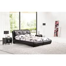 queen size low bed frame in black pu leather buy queen bed frame