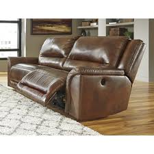 Electric Leather Sofa Living Room Ashley Yancy Power Reclining Leather Sofa In Galaxy
