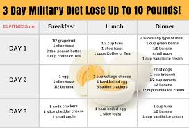 3 day military diet lose up to 10 pounds
