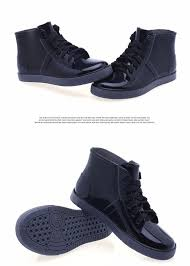 fashion ankle rain boots men lady lace up low heel chains