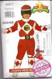 butterick 3661 power rangers jason red ninja halloween costume