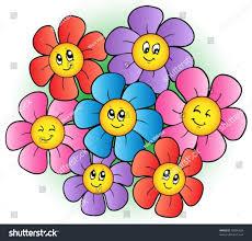 group cartoon flowers vector illustration stock vector 76584928