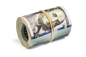new year dollar bill roll of hundred dollar bills isolated stock image image of