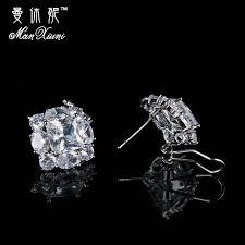 push back earrings square geometric big zircon cz drop push back earrings