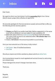 airasia refund policy airasia is suspending selected routes to iran thailand and