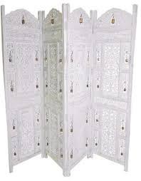 4 panel hand carved indian wooden bells design folding screen room