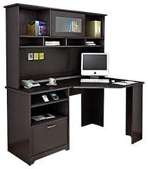 espresso desk with hutch fancy corner computer desk bush cabot corner computer desk with