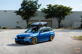 bmw 328i slammed bmw f31 328i touring xdrive mpackage estoril blue vossen