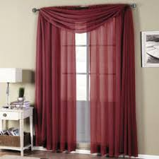 Red Scarf Valance Burgundy Sheer Scarf Valance