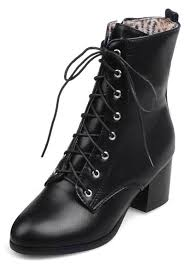 womens short biker boots idifu women u0027s comfy mid chunky heels ankle boots lace up short