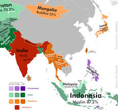 World Map Asia by Most Religious Places Asia Infographic World Religion General