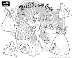 an 1830s historical paper doll coloring page featuring greta