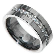 mens rings stones images 8mm tungsten carbide 1 carat 13 stones bridal men wedding band JPG