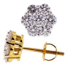 womens stud earrings diamond cluster stud earrings 14k yellow gold 1 15 ct